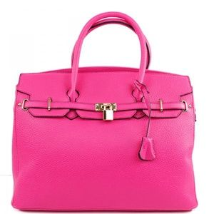 Handbags - Hot Pink Fashion Inspired Tote Bag Faux Leather